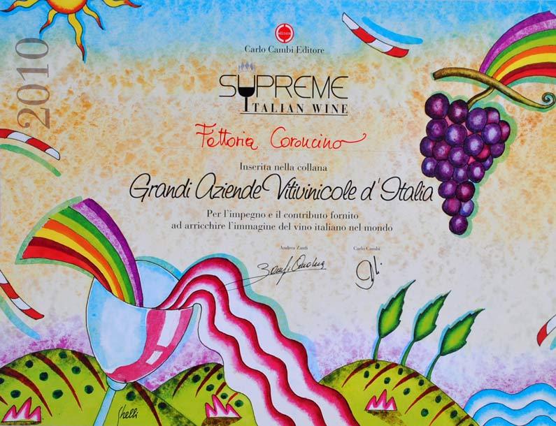 Carlo Cambi Editore - Supreme Italian Wines - attestato alla fattoria coroncino