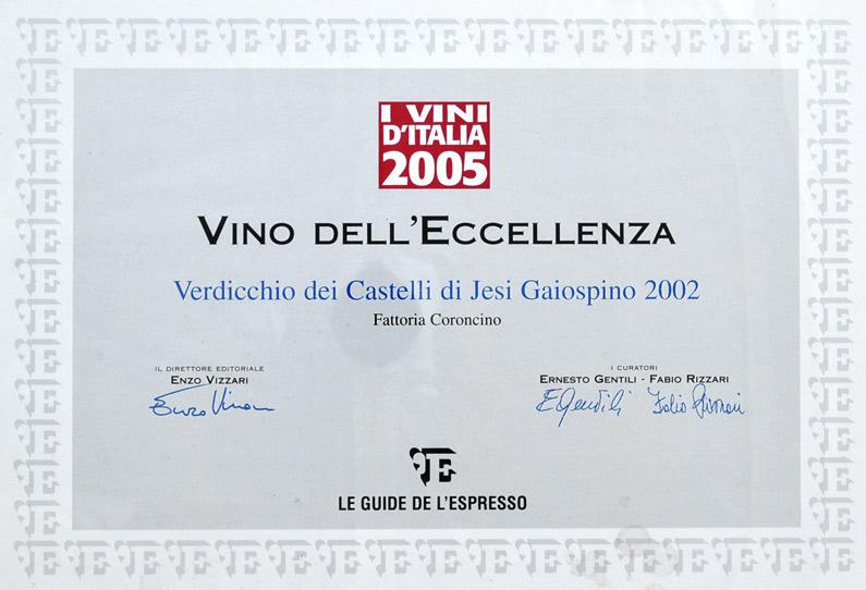 Gaiospino 2002: Vino d'eccellenza ne 'I Vini d'Italia 2005'