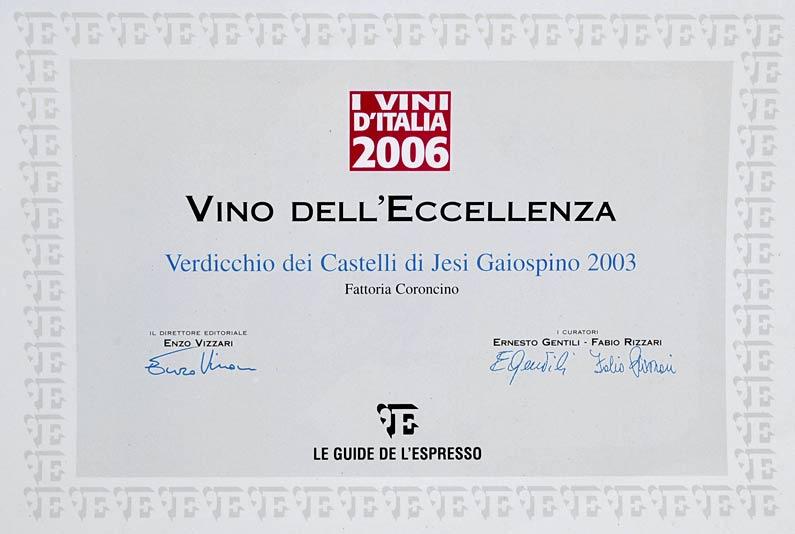 Gaiospino 2003: Vino d'eccellenza ne 'I Vini d'Italia 2006'