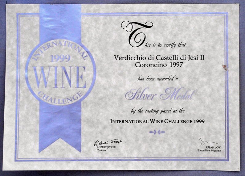 International Wine Challenge 1999 - Silver medal for IL CORONCINO 1997